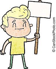 heureux, signe, dessin animé, homme