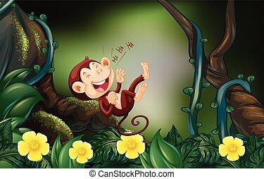 heureux, singe, profond, forêt