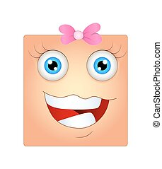 heureux, smiley, face femelle