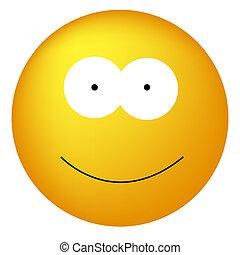 heureux, smiley, type caractère jaune