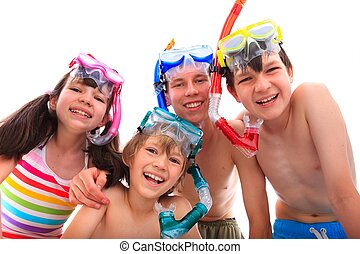 heureux, snorkels, enfants