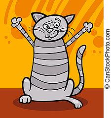 heureux, tabby, dessin animé, illustration, chat