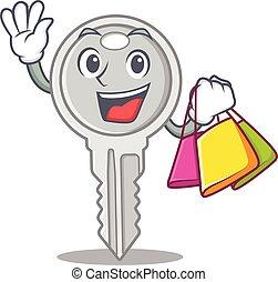 heureux, tenant sac, clã©, achats, onduler, riche