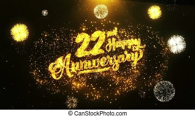 heureux, texte, voeux, salutation, célébration, fond, anniversaire, 22nd, invitation
