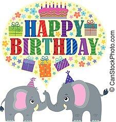 heureux, thème, anniversaire, éléphants