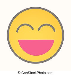 heureux, très, -, vecteur, dessin animé, smiley