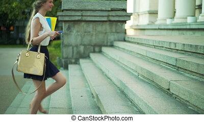 heureux, université, freshwoman, étudiant, aller, girl, education, plus haut