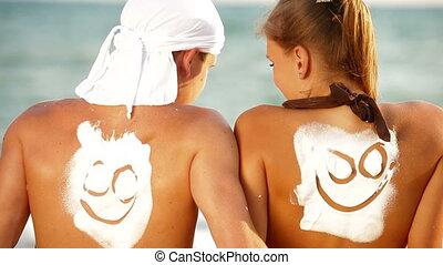 heureux, vacances, été, plage