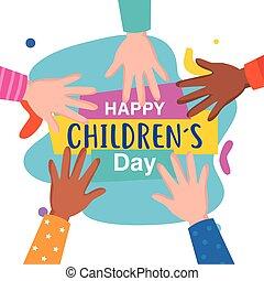 heureux, vecteur, childrens, conception, haut, jour, mains