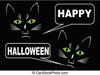 heureux, yeux, halloween., souhaiter, chat, sombre, chats, noir, message, fond, blanc vert, callouts, dessin, briller