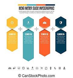 hexa, diapo, infographic, mètre