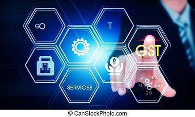 hexagonal, concept, gst, écran, toucher