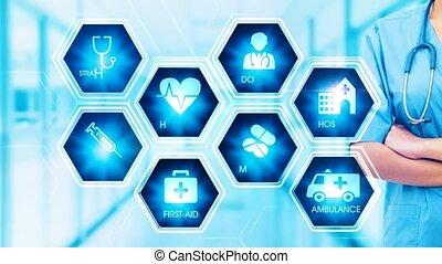hexagonal, concept, monde médical, écran, toucher