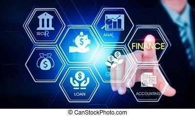 hexagonal, toucher, concept, écran, finance