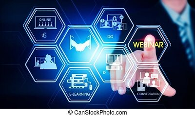 hexagonal, webinar, toucher, concept, écran