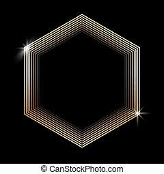 hexagone, doré, noir, arrière-plan., scintillement, étincelant, isolé
