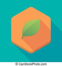 hexagone, icône, ombre, long, feuille verte