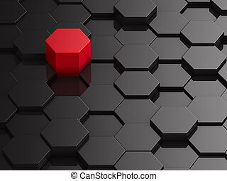 hexagone, rouge noir, fond, élément