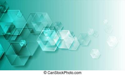 hexagones, lustré, fond, turquoise, technologie, résumé, mouvement