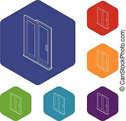 hexahedron, vecteur, porte, glissement, icônes