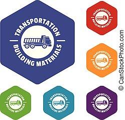hexahedron, vecteur, transport, service, icônes