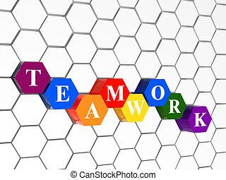 hexahedrons, couleur, collaboration, structure, cellulaire