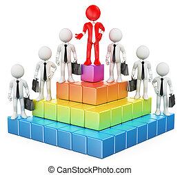 hiérarchie, blanc, gens., business, 3d