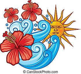 hibiscus, fleur soleil, mer rouge