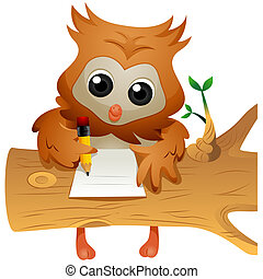 hibou, écriture