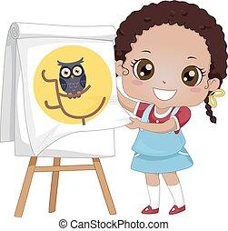 hibou, art conter, diagramme, chiquenaude, girl, gosse