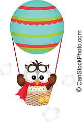 hibou, balloon, air chaud