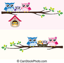 hibou, famille, illustration