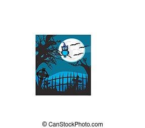 hibou, halloween, arrière-plan., illustration, lune