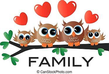 hibou, peu, doux, séance, famille, branche