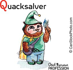 hibou, quacksalver, alphabet, professions, watercolor., -, q, vecteur, lettre, caractère