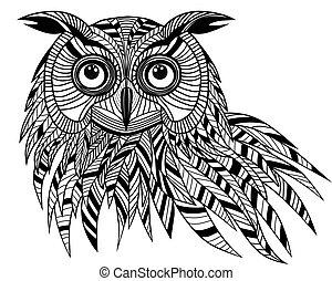 hibou, tête, t-shirt., emblème, tatouage, symbole, halloween, croquis, illustration, conception, oiseau, vecteur, logo, mascotte, ou, design.