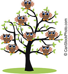 hiboux, arbre