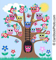 hiboux, arbre, lot