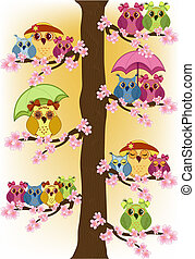 hiboux, arbre, lot, séance