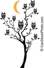 hiboux, arbre, vecteur, séance
