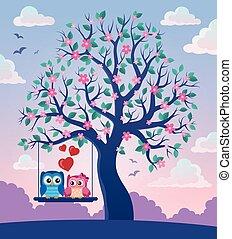 hiboux, thème, 2, arbre, valentin