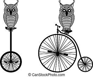 hiboux, vélo, vecteur, vieux