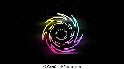 high-tech, cercle, mouvement, dynamique, cercles, resolution., 4k, incandescent, arrière-plan., animation., gradient, néon, intro, résumé