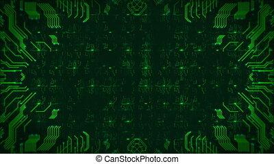 high-tech, résumé, seamless, arrière-plan., engendré, informatique, vert, planche, circuit, animation., boucle
