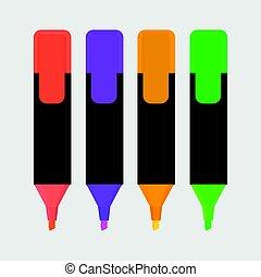 highlighter, isolé, illustration, stylo, vecteur, icône