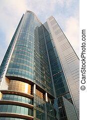 highrise, bâtiment, verre, reflet, gratte-ciel