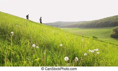 hills., hommes, courant, deux, dehors, vert, personne agee