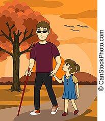 him., fille, homme, aveugle, agréable, marche, parc, sunset., regard, prendre, ensemble, soin, sien, guide, deux, c'est, image., illustration, famille, vecteur, happy.