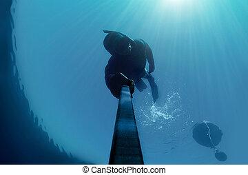 him., sien, tenue, lumière soleil, souffle, eau, au-dessus, deap, freediver