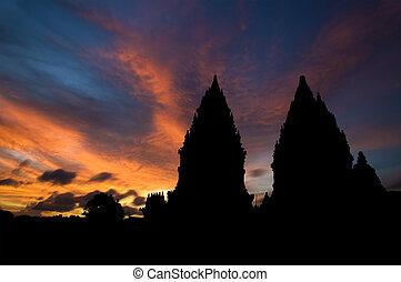 hindou, coucher soleil, temple